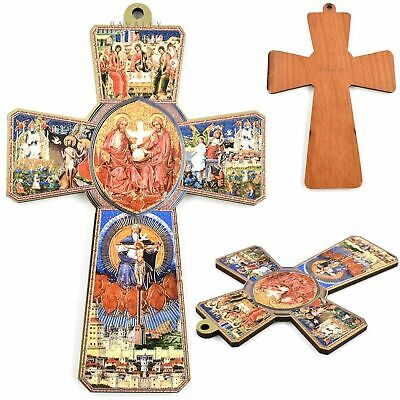 WOOD CROSS WALL CRUCIFIX ICON HOLY SPIRIT Hanging Jesus Christ Religious Gift