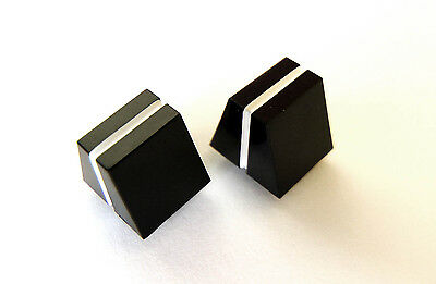 Slider pot knobs - pair of - Black with White line - Replacement Caps