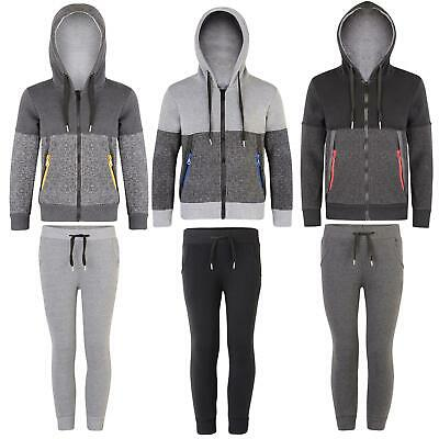 Kids Jacket or Trousers Contrast Zips Girls Hooded Top Boys Joggers 3-14 Years