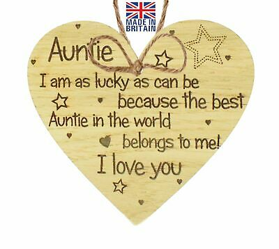 Birthday Gifts For Auntie Thank You Oak Wooden Heart Plaque Xmas Shabby Chic