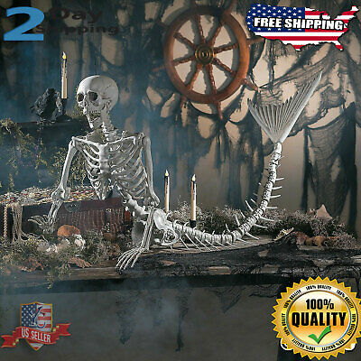 Life size Halloween Props Decorations Scary Mermaid Skeleton Outdoor indoor Yard