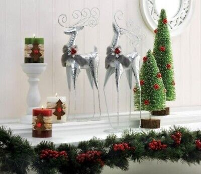 Kitchen Counter Decor Tall Side Table End Silver Reindeer
