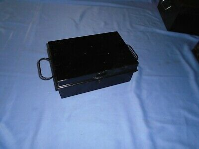 Vintage  Metal  Storage Box Deeds Box Cash Box Victa Secure Lever England