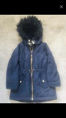 Girls H&M Navy Blue Winter Parka Jacket Coat. Fur Hood 7-8 Years