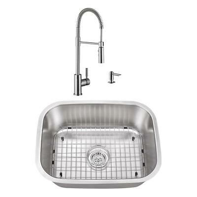 23-7/16 in. Stainless Steel Undermount Utility Sink Small Single Bowl with Brush