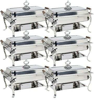 6 pc Choice Classic 8 Qt. Full Size Chafer Professional Wood Handles Ornate WEB