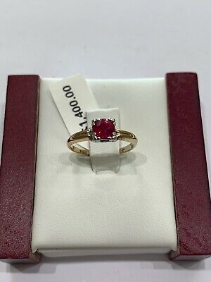 14k Yellow Gold Vintage Ruby Ring .85ct