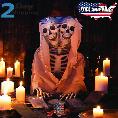 "60"" Halloween Props Life Size Two-Headed Scary Skeleton Outdoor Yard Decorations"