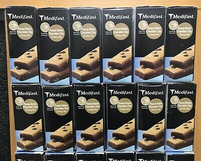 Medifast 6 Boxes/42 Bars Peanut Butter Chocolate Chip Chewy Bars 2020