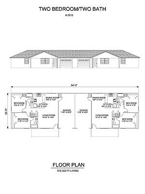 Two bedroom two bath duplex Apartment 910 sq ft per unit plan with garage
