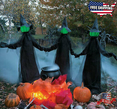 "Holding Hands Witches Set of Three Outdoor Indoor Halloween Decoration 59""x71"""