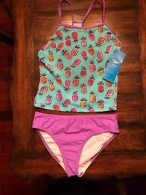 Speedo Girls Sporty Tankini 2Piece Swimsuit Sz 16 Purple/Pineapple NWT Darling!