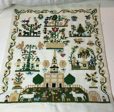 Vintage Needlepoint Embroidery Folk Art Country Life Scenes