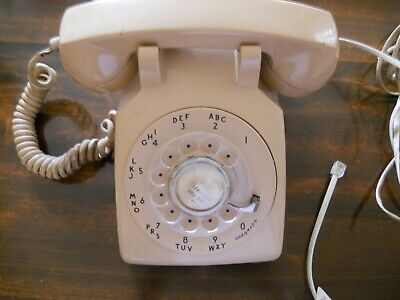 Vintage Telephone 500 Beige Bell System Western Electric Rotary Dial Bell Ringer