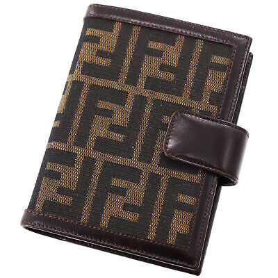 FENDI Zucca Day Planner Cover Brown Canvas Leather Italy Vintage Authentic BB663