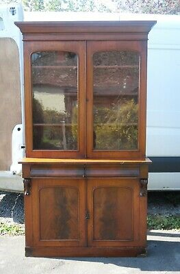 Old tall Victorian mahogany glazed top bookcase / dresser / chiffonier delivery