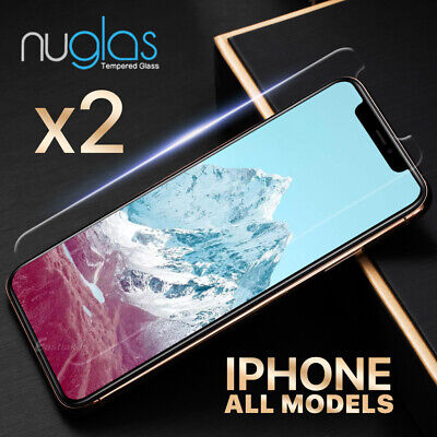 2x NUGLAS Tempered Glass Screen Protector iPhone XS Max XR X 8 7 6s 6 Plus 5s se