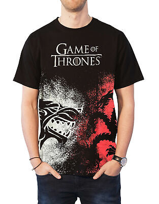 Game of Thrones T Shirt House Sigil Face off Logo new Official Mens Black