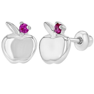 Rhodium Plated Fuchsia Pink CZ Apple Screw Back Toddlers Girls Earrings