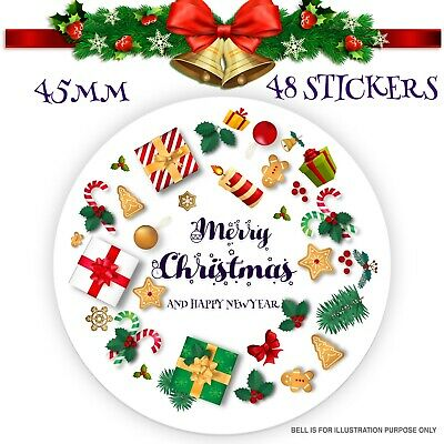 48 x Merry Christmas stickers Presents, Gifts Seal Xmas Labels SNP27