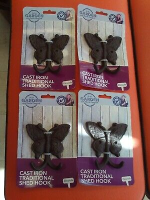 4 x Cast Iron Butterfly Hook/Hanger Household/Garden/Shed NEW Charlie Dimmock