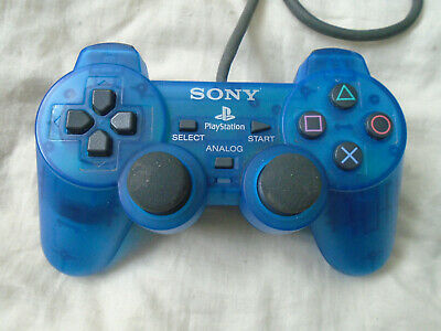 PS1 Official CLEAR BLUE Dual Shock Controller Sony Playstation TESTED & WORKING