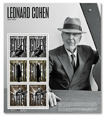 2019-Canada -Leonard Cohen: Pane of 6 stamps  -MNH