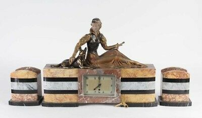 French Art Deco Clock Garniture Diane Hunter German Shepherd 26'' Spelter Marble