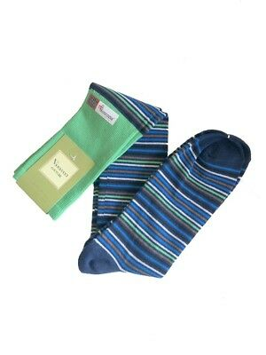 Vannucci Dress Socks Knee Mens Over the Calf Striped 10-13 Made In Portugal $30