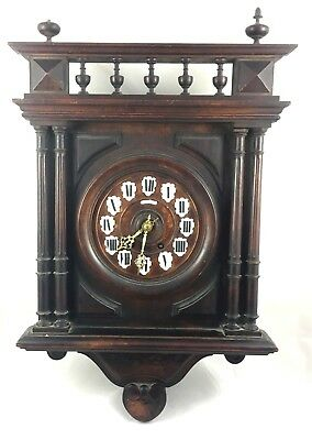 19th CENTURY RAISON & THOMAS CARVED WALL CLOCK ** VINCENTI & CO MOVEMENT **