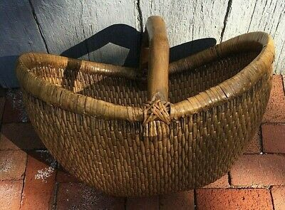 Antique Large Chinese Woven Basket With Bamboo Handle