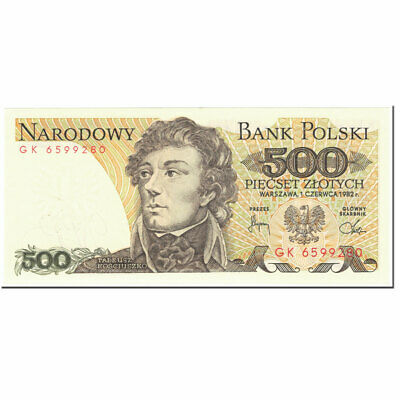 POLAND 500 ZLOTYCH P145 1982 EURO EAGLE FLAG UNC POLISH MONEY BILL BANK NOTE