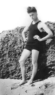 Vintage Photo Sexy 1920s Swimmer Poses on Beach Gay Int