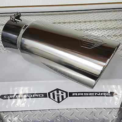 """OFFROAD ARSENAL 5/"""" INLET 6/"""" OUTLET 18/"""" DIESEL ROLLED EXHAUST TIP POLISHED LOGO"""