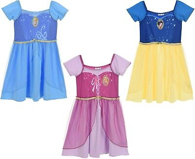 Disney Princess Girls Short Sleeve Fancy Nightdress Nightie Pyjamas Set 2-6 Yrs