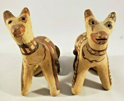 STUNNING Antique Pair of Pre-Colombian Pottery Cat Figurines