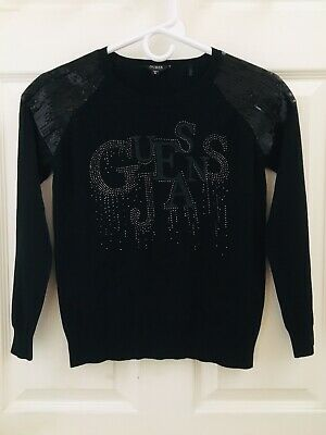 GUESS JEANS BLACK SHIRT TOP SWEATER GIRLS SIZE 14 Long Sleeve Dressy