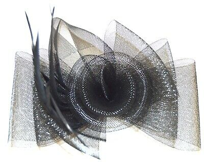 NEW Black large centre swirl looped net fascinator clip pin wedding prom races
