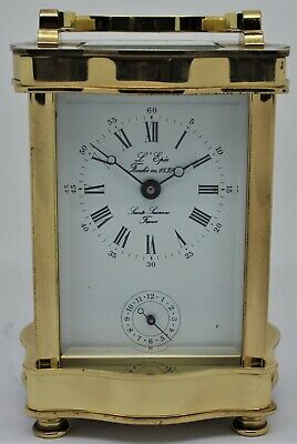 L'Epee Saint Suzanne brass Carriage Alarm clock 8 day wind