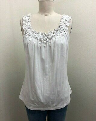 White Stretch Knit Embroidered Beaded Elastic Neckline Tank Cami Top Sz L