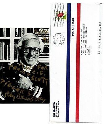 RAY BRADBURY Autographed Photograph PICTURE Postcard Signed Both Sides Envelope