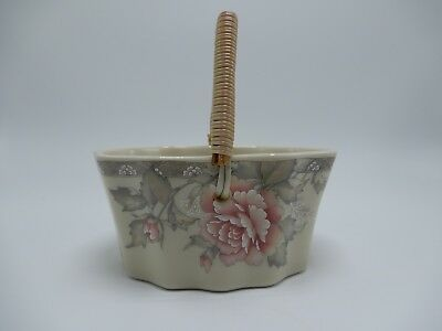 Japanese Fine Porcelain Basket with Hand Painted Floral Design & Woven Handle