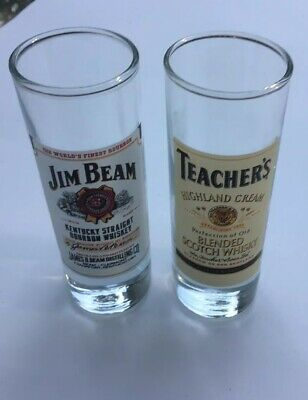 "2 Tall 4"" SHOT GLASSes Jim Beam Kentucky Bourbon Teacher's Scotch Whisky High Cr"