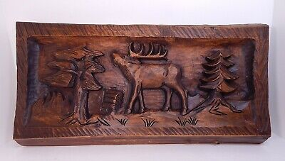 BLACK FOREST German Wood Carving CALLING ELK, Wall Panel Picture, Signed & Dated