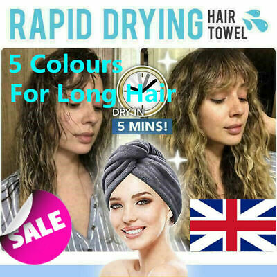 RAPID DRYING HAIR TOWEL - Thick Absorbent Shower Cap Fast 5 Colours UK
