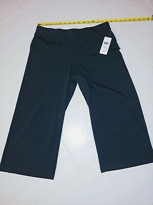NEW $148 Eileen Fisher PM Charcoal Stretch Jersey WideLeg Pull-On Cropped Pants