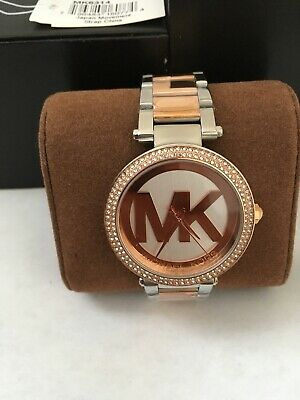 Michael Kors Parker Rose Gold Silver Two Tone Logo Dial 39MM MK6314 BRAND NEW