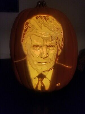 "Halloween Orange Plastic Donald Trump Pumpkin ""Trumpkin"" AA Battery Operated NEW"