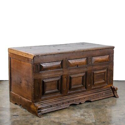 Provencial Spanish Oak Paneled Coffer, c.17th Century