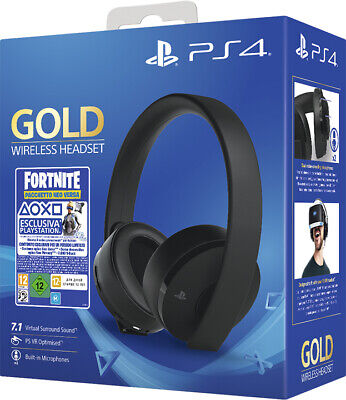 Cuffie Ps4 Gold Wireless Headset + Gioco Fortnite Vch (2019) Sony Play Station 4